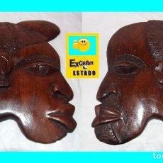 Arte: PAREJA / PAR DE MÁSCARAS / CARETAS AFRICANAS - HOMBRE Y MUJER - PRECIOSAS - EXCELENTE ESTADO. Lote 182333273