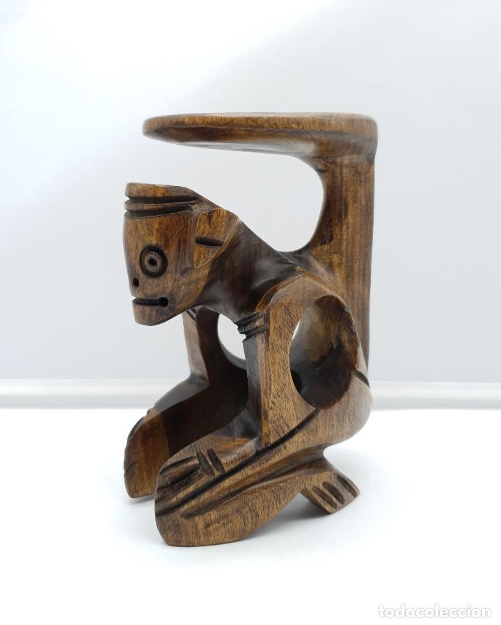 Arte: Escultura antigua deidad de la cultura Taina en madera tropical maciza, hecha a mano por sus nativos - Foto 6 - 182758858