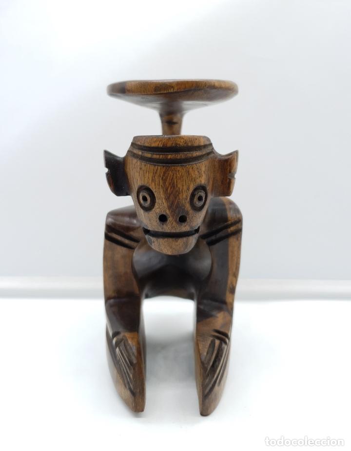 Arte: Escultura antigua deidad de la cultura Taina en madera tropical maciza, hecha a mano por sus nativos - Foto 7 - 182758858