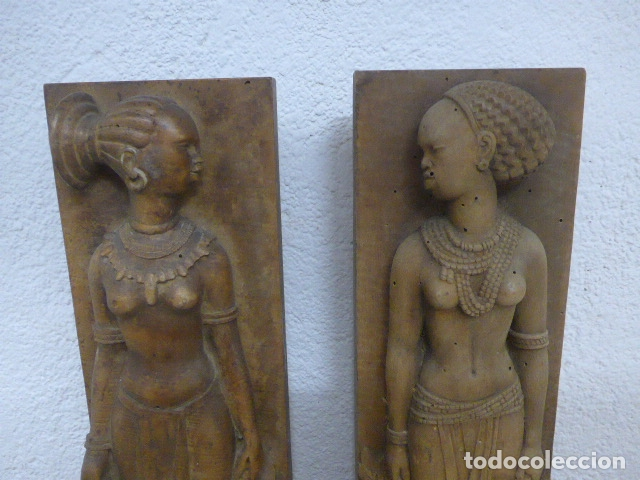 Arte: Antiguos 2 plafon escultura figura africana de madera tallada, original, de tribu de Africa. - Foto 2 - 183342018