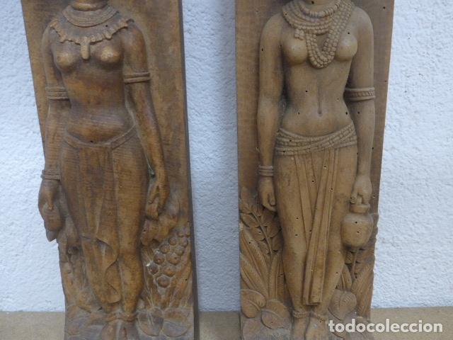 Arte: Antiguos 2 plafon escultura figura africana de madera tallada, original, de tribu de Africa. - Foto 3 - 183342018