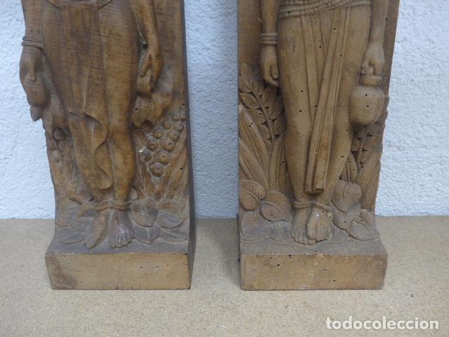 Arte: Antiguos 2 plafon escultura figura africana de madera tallada, original, de tribu de Africa. - Foto 4 - 183342018
