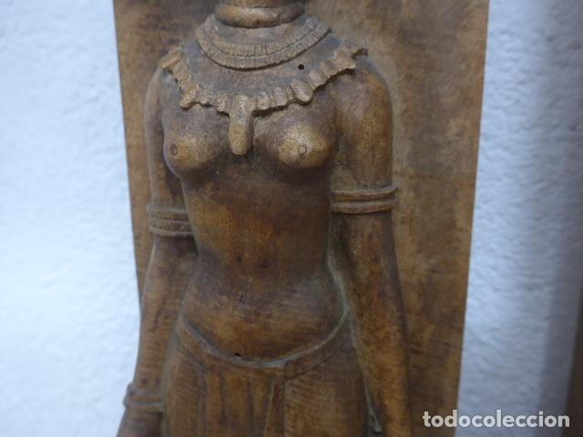 Arte: Antiguos 2 plafon escultura figura africana de madera tallada, original, de tribu de Africa. - Foto 6 - 183342018