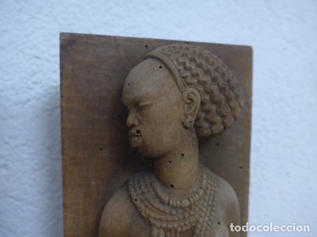 Arte: Antiguos 2 plafon escultura figura africana de madera tallada, original, de tribu de Africa. - Foto 7 - 183342018