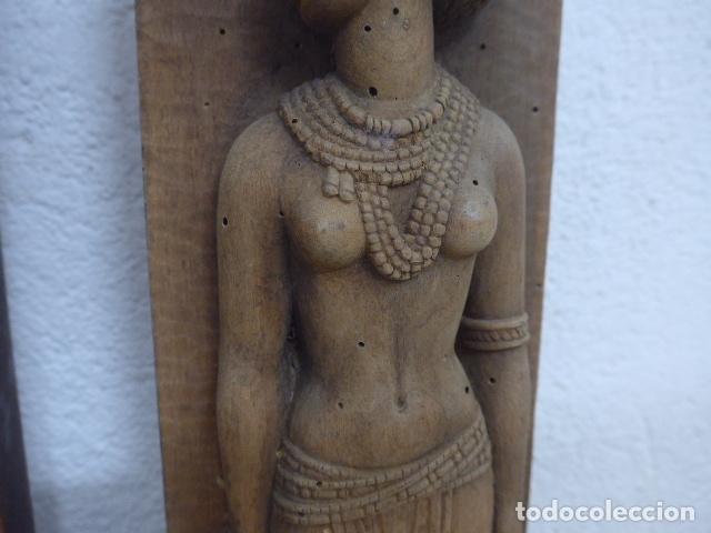 Arte: Antiguos 2 plafon escultura figura africana de madera tallada, original, de tribu de Africa. - Foto 8 - 183342018
