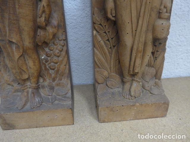 Arte: Antiguos 2 plafon escultura figura africana de madera tallada, original, de tribu de Africa. - Foto 9 - 183342018