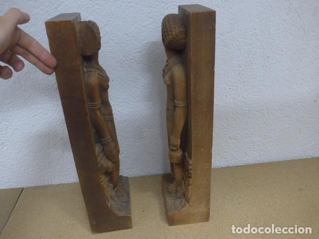Arte: Antiguos 2 plafon escultura figura africana de madera tallada, original, de tribu de Africa. - Foto 10 - 183342018