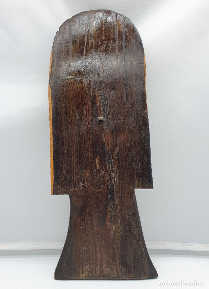 Arte: Mascara antigua africana en madera de ebano tallada a mano por nativos . - Foto 5 - 183990586