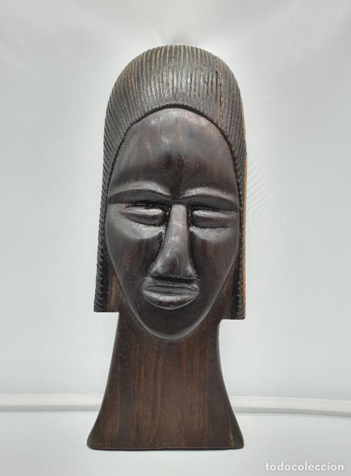 Arte: Mascara antigua africana en madera de ebano tallada a mano por nativos . - Foto 6 - 183990586
