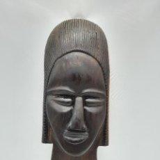 Arte: MASCARA ANTIGUA AFRICANA EN MADERA DE EBANO TALLADA A MANO POR NATIVOS .. Lote 183990586