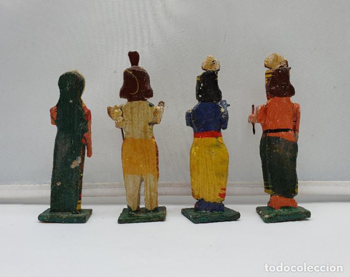 Arte: Magnífica colección antigua de Divinidades hindúes en madera, hechas y policromadas a mano . - Foto 3 - 184107971