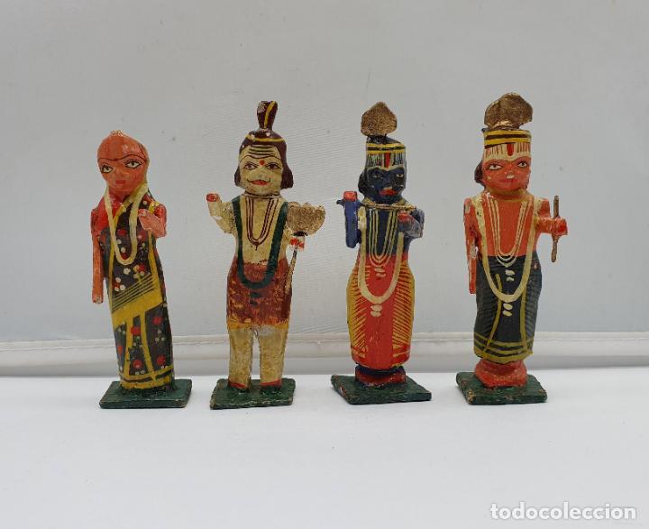 Arte: Magnífica colección antigua de Divinidades hindúes en madera, hechas y policromadas a mano . - Foto 5 - 184107971