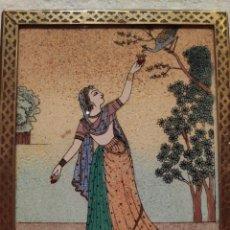 Arte: CUADRITO ESCUELA DE RAJASTHAN PINTADO BAJO EL CRISTAL. Lote 184222012