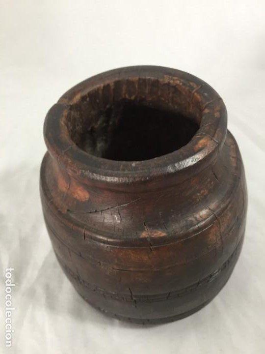 Arte: Cuenco vaso madera tallada estriado antiguo étnico bonita y suave pátina 10 x 11 cms. - Foto 2 - 184330590
