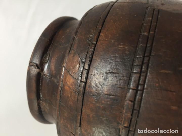 Arte: Cuenco vaso madera tallada estriado antiguo étnico bonita y suave pátina 10 x 11 cms. - Foto 5 - 184330590