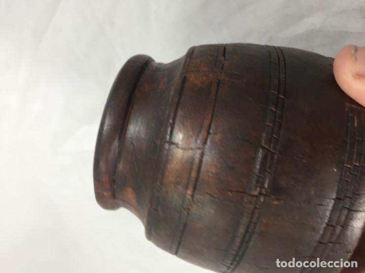 Arte: Cuenco vaso madera tallada estriado antiguo étnico bonita y suave pátina 10 x 11 cms. - Foto 7 - 184330590