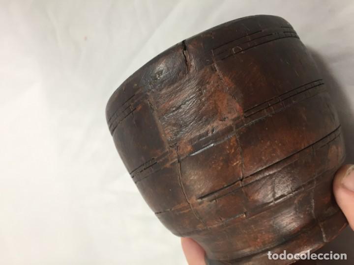 Arte: Cuenco vaso madera tallada estriado antiguo étnico bonita y suave pátina 10 x 11 cms. - Foto 10 - 184330590