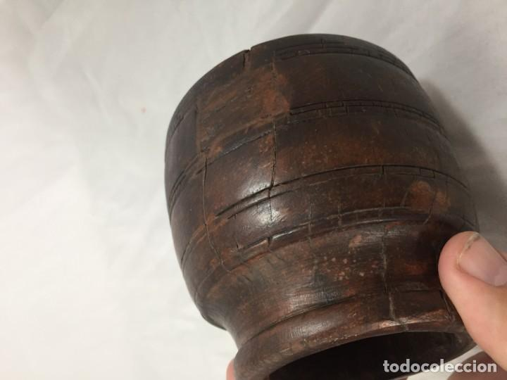 Arte: Cuenco vaso madera tallada estriado antiguo étnico bonita y suave pátina 10 x 11 cms. - Foto 11 - 184330590