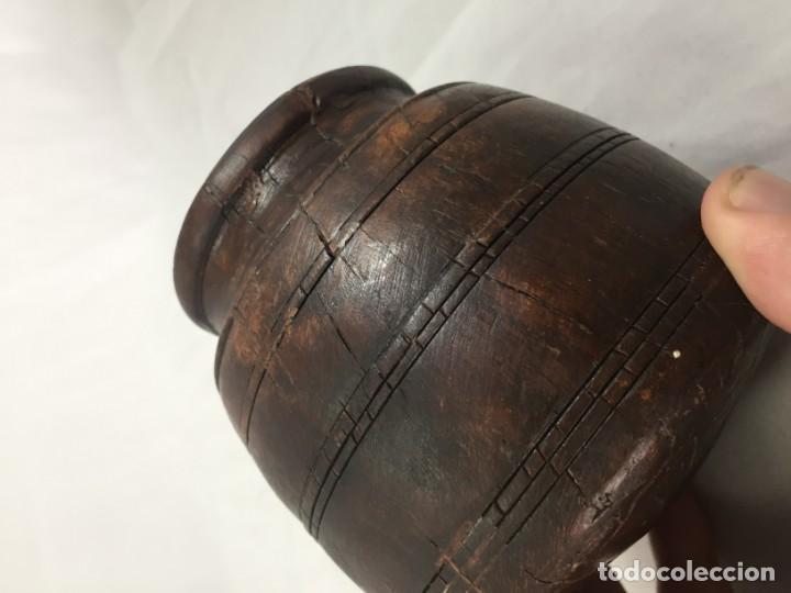 Arte: Cuenco vaso madera tallada estriado antiguo étnico bonita y suave pátina 10 x 11 cms. - Foto 13 - 184330590