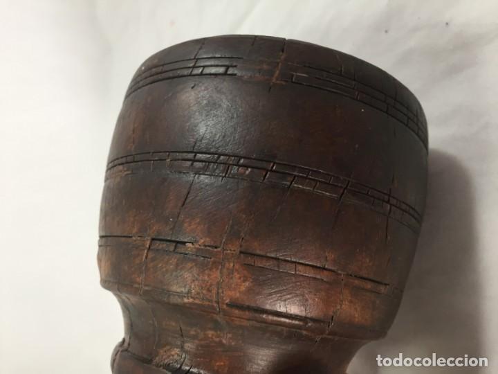 Arte: Cuenco vaso madera tallada estriado antiguo étnico bonita y suave pátina 10 x 11 cms. - Foto 16 - 184330590