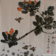 Arte: ACUARELA CHINA DE FLORES Y PÁJAROS (34X35 CM). Lote 184555403
