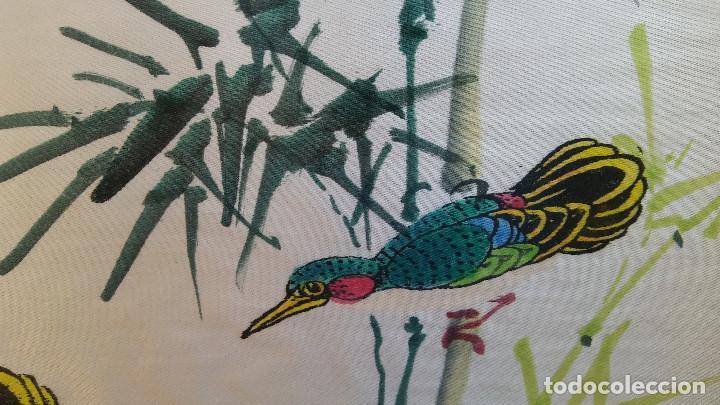 Arte: ANTIGUA PINTURA REALIZADA SOBRE SEDA CHINA, FIRMADA. - Foto 3 - 184589746