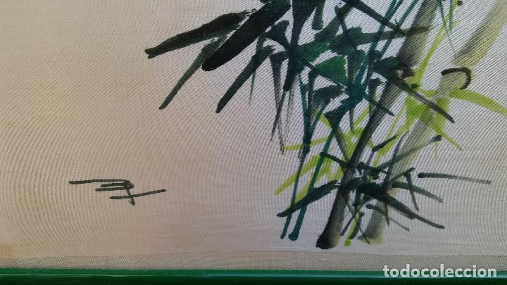 Arte: ANTIGUA PINTURA REALIZADA SOBRE SEDA CHINA, FIRMADA. - Foto 5 - 184589746