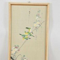 Arte: CHINA - OBRA DE ARTE ENMARCADA, FIRMADO, RAMA DE PÁJAROS.. Lote 184745998
