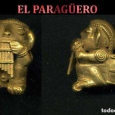 Arte: INDIO CANASTERO FLAUTISTA PRECOLOMBINO QUIMBAYA DE ORO TUMBAGA MIDE 3,5 X 3 CENT PESO 32 GRAM -N95. Lote 184896448