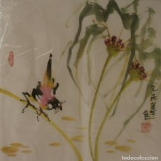 Arte: ACUARELA CHINA DE FLORES Y PÁJAROS (34X35 CM). Lote 185055595