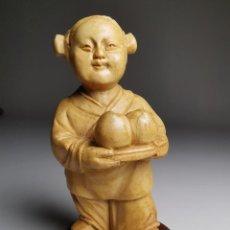 Arte: FIGURA DE NIÑA -NIÑO CAMPESINO DELICADAMENTE TALLADA MADERA DE BOJ- REPUBLICA CHINA 50´S-----NETSUKE. Lote 185124196