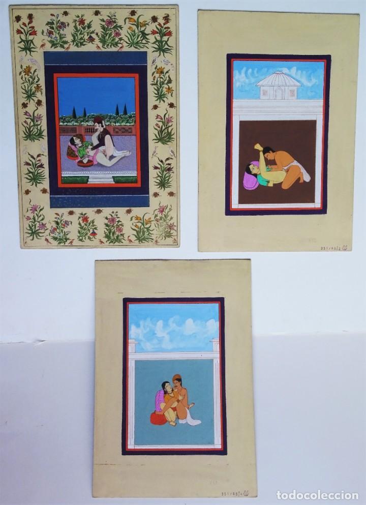3 CUADROS, PINTADOS, IMÁGENES DEL KAMASUTRA, CA. 1900, INDIA (Arte - Étnico - Asia)