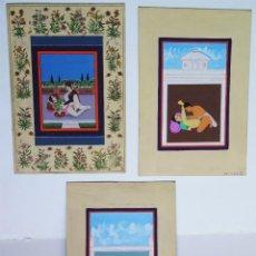 Arte: 3 CUADROS, PINTADOS, IMÁGENES DEL KAMASUTRA, CA. 1900, INDIA. Lote 185711495