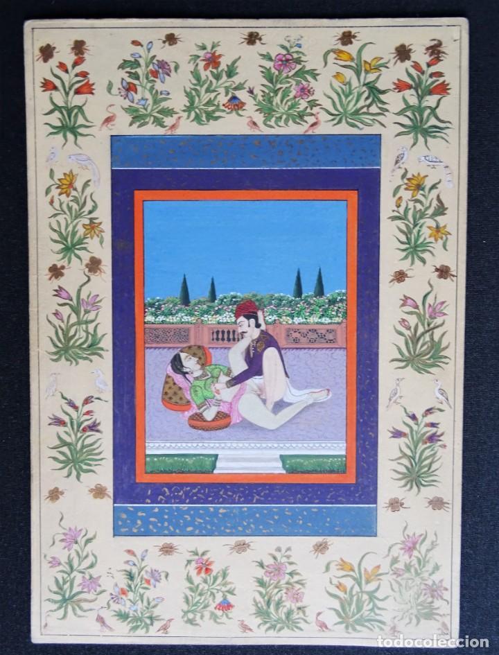 Arte: 3 cuadros, pintados, imágenes del Kamasutra, ca. 1900, India - Foto 2 - 185711495