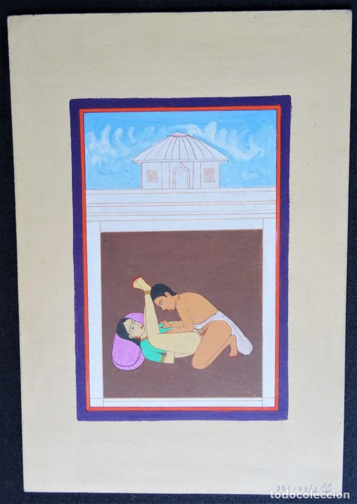 Arte: 3 cuadros, pintados, imágenes del Kamasutra, ca. 1900, India - Foto 3 - 185711495