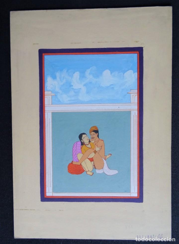 Arte: 3 cuadros, pintados, imágenes del Kamasutra, ca. 1900, India - Foto 4 - 185711495