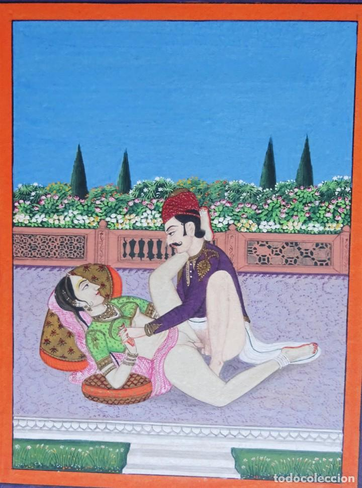 Arte: 3 cuadros, pintados, imágenes del Kamasutra, ca. 1900, India - Foto 7 - 185711495