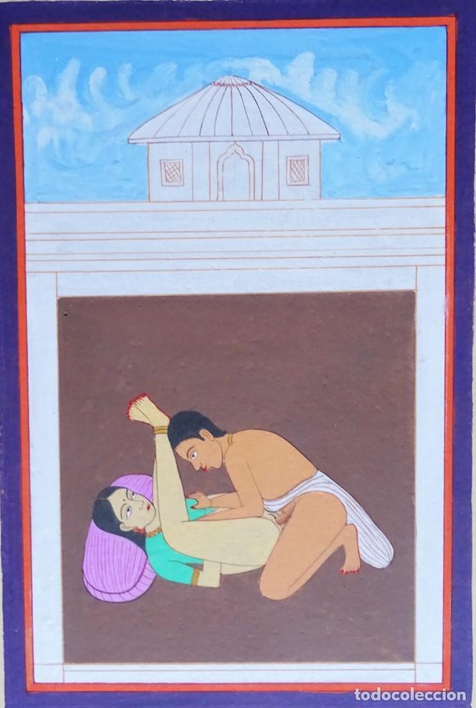 Arte: 3 cuadros, pintados, imágenes del Kamasutra, ca. 1900, India - Foto 9 - 185711495