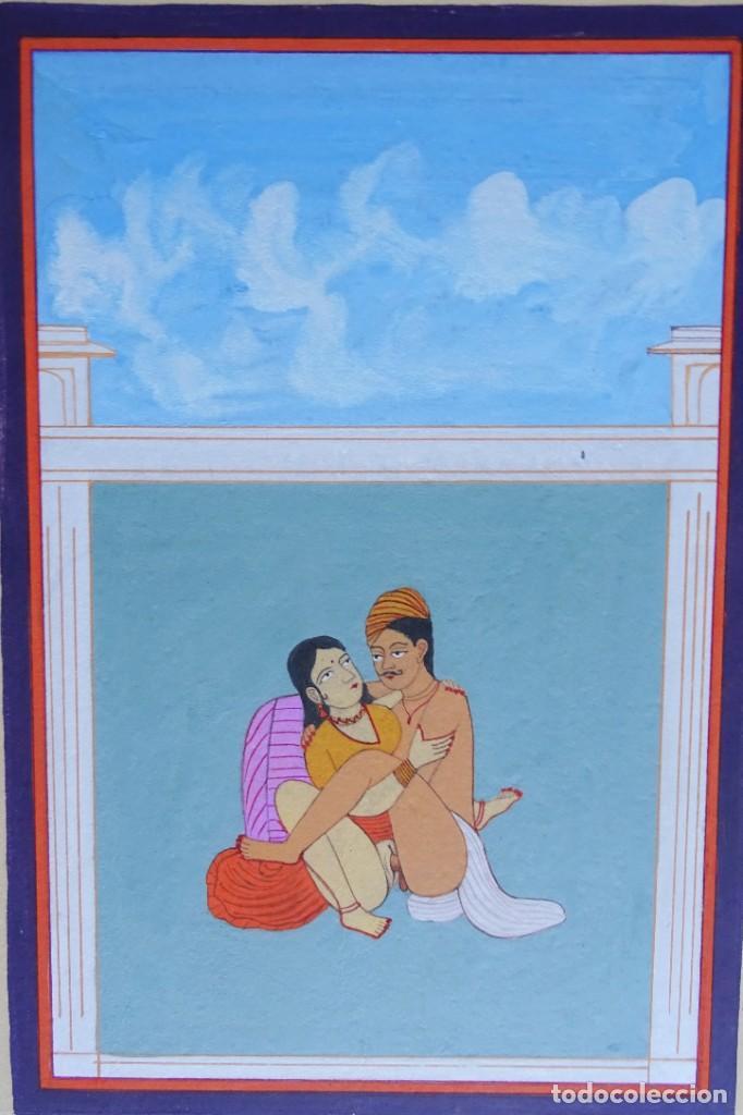Arte: 3 cuadros, pintados, imágenes del Kamasutra, ca. 1900, India - Foto 12 - 185711495