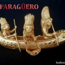 Arte: INDIOS PESCANDO EN SU BALSA PRECOLOMBINA QUIMBAYA DE ORO TUMBAGA PESO 360 GRAM - Nº96. Lote 186099698