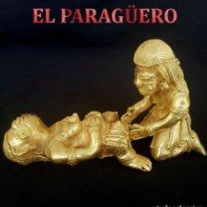 Arte: MUJER PARIENDO CON AYUDA DEL PARTERO PRECOLOMBINA QUIMBAYA DE ORO TUMBAGA PESO 208 GRAM - Nº97. Lote 186100561