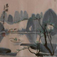 Arte: ACUARELA CHINA DE PAISAJE (34X35 CM). Lote 186164492