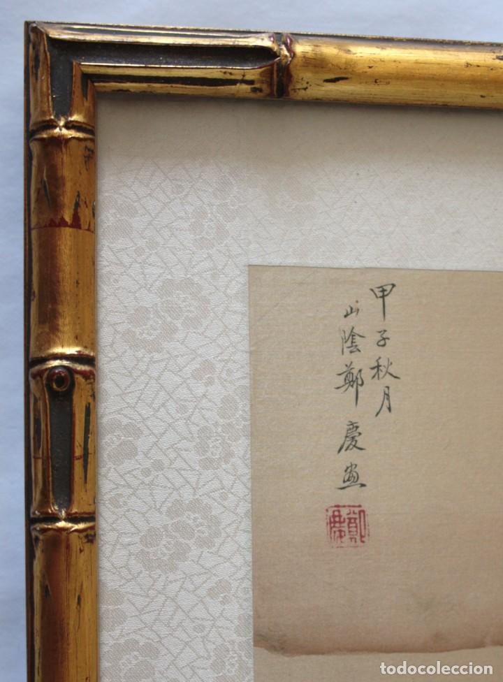 Arte: Antigua pintura china sobre seda firmada y caligrafiada con marco de bambú dorado. Mujer bajo árbol. - Foto 3 - 186248075