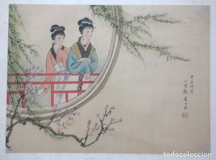 Arte: Antigua pintura china sobre seda firmada y caligrafiada con marco de bambú. Mujeres en la terraza. - Foto 2 - 186248265
