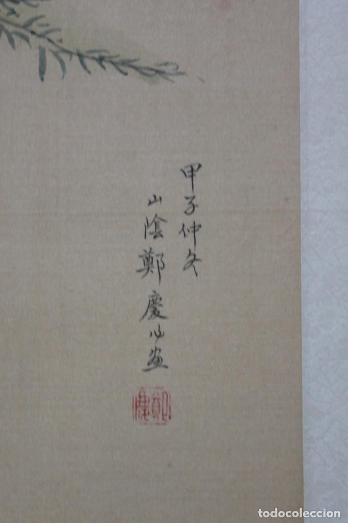 Arte: Antigua pintura china sobre seda firmada y caligrafiada con marco de bambú. Mujeres en la terraza. - Foto 3 - 186248265