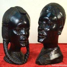 Arte: PAREJA DE CABEZAS AFRICANAS. MADERA TALLADA. EBONIZADA. AFRICA. CIRCA 1940. Lote 186292380