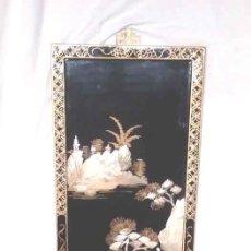 Arte: CUADRO PAISAJE INCUSTRACIONES DE NACAR NATURAL SOBRE MADERA LACADA, BUEN ESTADO. MED. 39 X 92 CM. Lote 187419563