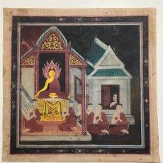 Arte: PINTURA ORIGINAL CON BUDA , TANGKA , ANTIGUO Y ORIGINAL , GOUACHE , BUDDHIST , THAILAND. Lote 87246684