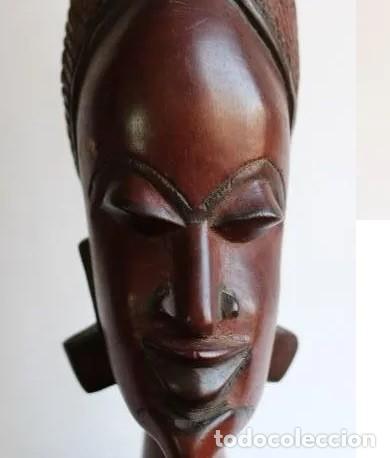TALLA AFRICANA EN MADERA NOBLE DE AFRICA ROSTRO DE MUJER 50 CM DE ALTURA (Arte - Étnico - África)
