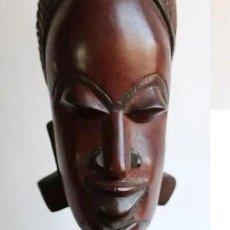 Arte: TALLA AFRICANA EN MADERA NOBLE DE AFRICA ROSTRO DE MUJER 50 CM DE ALTURA. Lote 128259411